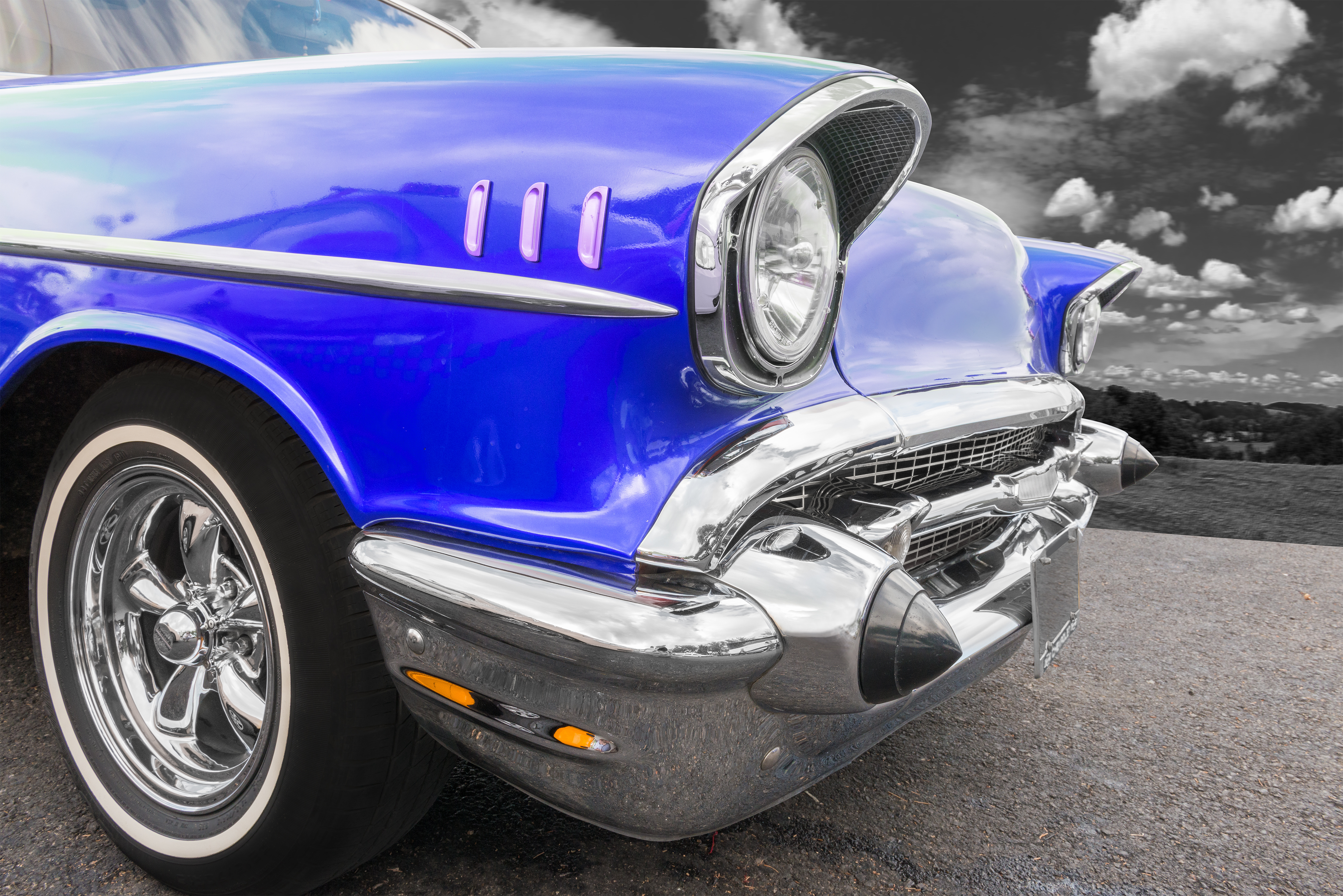 Classic blue car restored